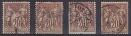 Sage N°67, 4 Exemplaires Oblitérés, Scans Recto-verso. - 1876-1878 Sage (Type I)