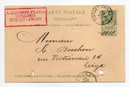 - BELGIQUE - Carte Postale L. LONDOT-FLABA, DISTILLATEUR, BIERSET-AWANS Pour LIEGE 28.9.1900 - - Entiers Postaux