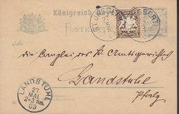 Saar Vorläufer Bayern Uprated Postal Stationery Ganzsache Entier (02) ST. JNGBERT 1903 LANDSTUHL (2 Scans) - Ganzsachen