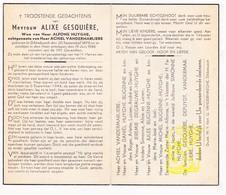 DP Alixe Gesquière ° Dikkebus Ieper 1878 † 1946 X A. Huyghe Xx A. VanderMarliere / Bugenne DeGrauwe / WO II 6 Sept 1944 - Images Religieuses