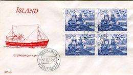 Iceland/Islande/Ijsland/Island FDC 8.VI.1983 Fisheries Block Of 4 Matching Cover FV-102 - FDC