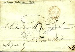 De St PIERRE De LA  MARTINIQUE -Cachet Rge  OUTREMER-MARSEILLE - 1839 - - Marcophilie (Lettres)