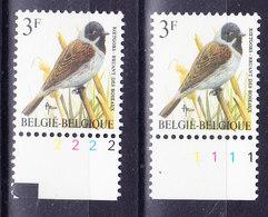 BELGIQUE BUZIN COB 2425 ** MNH, PAIRE DE NUMERO DE PLANCHE 1 Et 2, FLUO GOMME VERTE . (3J100) - 1985-.. Oiseaux (Buzin)