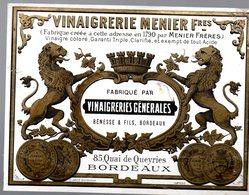 Bordeaux (33 Gironde) étiquette VINAIGRERIE MENIER Frères   (PPP17446) - Advertising