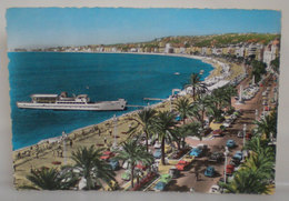 Nizza Promenade Des Anglais Barca Boat Auto Cars Francia Cartolina 1961 Targhetta Storia Postale - Transport Urbain - Auto, Autobus Et Tramway