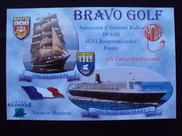 Carte Postale QSL BRAVO GOLF 2002 QUEEN MARY II - Loire Atlantique 44 Bougenais - Radio-amateur