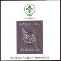 Guyana Silver Foil S/S - Scout Jamboree - Owl - Unusual - Eulenvögel