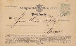 Bayern Postal Stationery Ganzsache Entier 2 Kr. Wappen NEUSTADT BAHNPOST 1874 SPEYER (2 Scans) - Ganzsachen