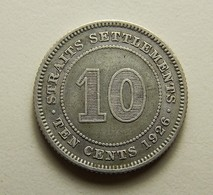 Straits Settlements 10 Cents 1926 Silver - Monnaies