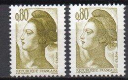 - FRANCE Variété 2246e ** - 80 C. Brun-olive Type Liberté 1982 - BONNET MACULÉ - Cote 25 EUR - - Variétés Et Curiosités