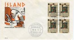 Iceland/Islande/Ijsland FDC 20.III.1970 Old Icelandic Manuscripts Block Of 4 Matching Cover FM 91 - FDC