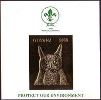 Guyana Gold Foil S/S - Scout Jamboree - Owl - Unusual - Eulenvögel
