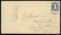ARGENTINA. C.1887. La Plata - Bs As. 24c Blue Stat Env Used At Proper Registration Rate. Scarce. - Argentine