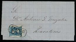 "MEXICO. 1880. Pinos - Zacatecas. EL. 25c, 5280 Diagonal Name, Boxed ""FRANCO / PINOS"". XF. - Mexico"