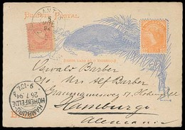 BRAZIL. 1894. Santos - Germany. 40rs Stat Card + Adtl. 100rs Pmk. VF. - Brazil