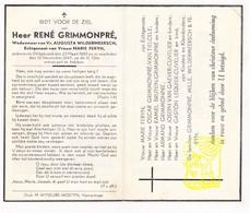 DP René Grimmonpré ° Dikkebus Ieper 1883 † 1947 X Wildermeersch Xx M Feryn / V Tielcele Brutein V Gaever Cuvelier Mille - Images Religieuses