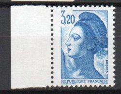 - FRANCE Variété 2383a ** - 3 F. 20 Bleu Type Liberté 1985 - GOMME SATINÉE - Cote 15 EUR - - Variétés Et Curiosités