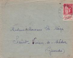 N°283 Type I Pub Pougues S / Env 1933 - Marcophilie (Lettres)