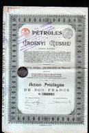 Petroles Grosnyi, Capital Reduit à 1.800.000, Avec Tous Les Coupons ( Voir Scans ) - Pétrole