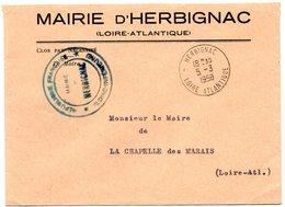 LOIRE ATLANTIQUE - Dépt N° 44 = HERBIGNAC 1958 = CACHET A8 + FRANCHISE MAIRIE - Marcophilie (Lettres)
