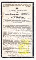 DP Petrus F. Herreman ° Passendale Zonnebeke 1842 † Dikkebus Ieper 1924 X Julie Denorme - Images Religieuses