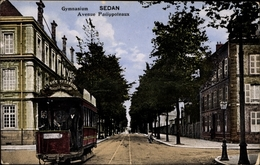 Cp Sedan Ardennes, Gymnasium, Avenue Philippoteau, Straßenbahn, Tram - Autres Communes