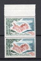 - FRANCE - Variété N° 1391 - 50 C. Côte D'Azur Varoise 1963-65 - COULEUR VERT DEPOUILLE Tenant à NORMAL - - Errors & Oddities