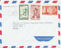 Morocco Cover Sent Air Mail To Switzerland Casablanca 31-5-1961 - Morocco (1956-...)