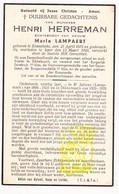 DP Schoolmeester Langemark & Dikkebus + Koster - Henri Herreman ° Zonnebeke 1876 † Ieper 1940 X Maria Lampaert - Images Religieuses