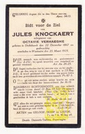 DP Jules Knockaert ° Dikkebus Ieper 1867 † Westouter Heuvelland 1925 X Octavie Verhaeghe - Images Religieuses