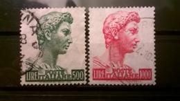 FRANCOBOLLI STAMPS ITALIA ITALY 1957 USED SERIE COMPLETA SAN GIORGIO DI DONATELLO SASSONE 810 - 811 - 1946-60: Oblitérés