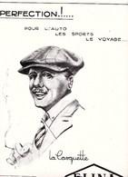 """1925 ELINA Casquette """"Une Perfection Pour L'auto,les Sports,le Voyage """" - Verso : Mini Pubs état Moyen - Advertising"""