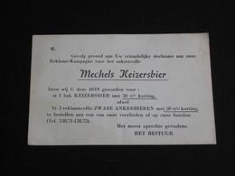 Reclamekaart MECHELS KEIZERSBIER Brouwerij HET ANKER Mechelen (postkaart Formaat) - Mechelen