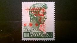 FRANCOBOLLI STAMPS ITALIA ITALY 1957 USED SAN GIORGIO DI DONATELLO AFFRANCATURA MECCANICA ROSSA SASSONE 810 - 1946-60: Oblitérés