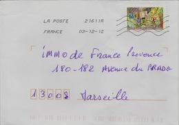 Timbre Seul Sur Lettre Adhésif N°A765 Meilleurs Voeux (oblitération Du 03/12/2012) - 1961-....