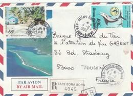 POLYNESIE YT 223 + PA 190 SUR LR VAITAPE BORA BORA 4/8/86 POUR TOULON - Polynésie Française