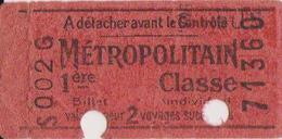 Ticket Metropolitain Tarif K Sans Lettre 1ere Classe - Subway