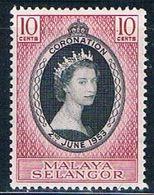 Malaya Selangor 101 MNH Coronation Issue  CV 1.75 (M0249) - Selangor