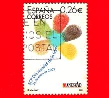 SPAGNA - Usato - 2003 - Giornata Mondiale Della Lebbra - Logo Floreale - 0.26 - 1931-Oggi: 2. Rep. - ... Juan Carlos I