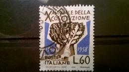 FRANCOBOLLI STAMPS ITALIA ITALY 1958 USED SERIE DECENNALE COSTITUZIONE ITALIANA - 1946-60: Usati