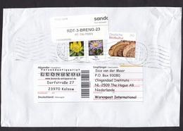 Germany: Parcel Fragment (cut-out) To Netherlands, 2019, 3 Stamps, Bread, Food, Label Private Service SANDD Over Stamps - [7] West-Duitsland