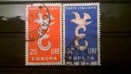 FRANCOBOLLI STAMPS ITALIA ITALY 1958 USED SERIE COMPLETA EUROPA UNITA SASSONE 838 - 839 - 1946-60: Usati