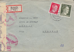 Poland Vorläufer Registered Einschreiben Label MYSLOWITZ (Oberschlesien) 1943 Cover Brief 'OKW' Zensur Censor Label - Deutschland