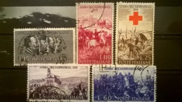 FRANCOBOLLI STAMPS ITALIA ITALY 1959 USED SERIE COMPLETA CENTENARIO GUERRA INDIPENDENZA - 1946-60: Usati