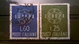 FRANCOBOLLI STAMPS ITALIA ITALY 1959 USED SERIE COMPLETA EUROPA UNITA SASSONE 877 - 878 - 1946-60: Usati