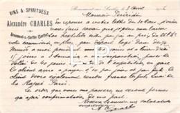 9-0103    FACTURE  1916 VINS ET SPIRITUEUX ALEXANDRE CHARLES A BEAUMONT SUR SARTHE - M. PERDRIAU - France