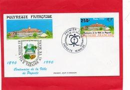 Pli En 1° Jour  De La Polynésie ( Centenaire De La Ville De Papeete ) - Timbres