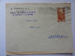 """Busta Viaggiata Pubblicitaria """"A. TONOLLI & C. Bologna"""" 1953 - 1946-60: Storia Postale"""