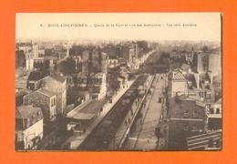 CPA FRANCE 92  ~  BOIS-COLOMBES  ~  5  Quais De La Gare Et Rue Des Aubépines - Vue Vers Asnières  ( B. C. )    2 Scans - France