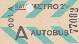 Ticket Magnetique Tarif A - Subway